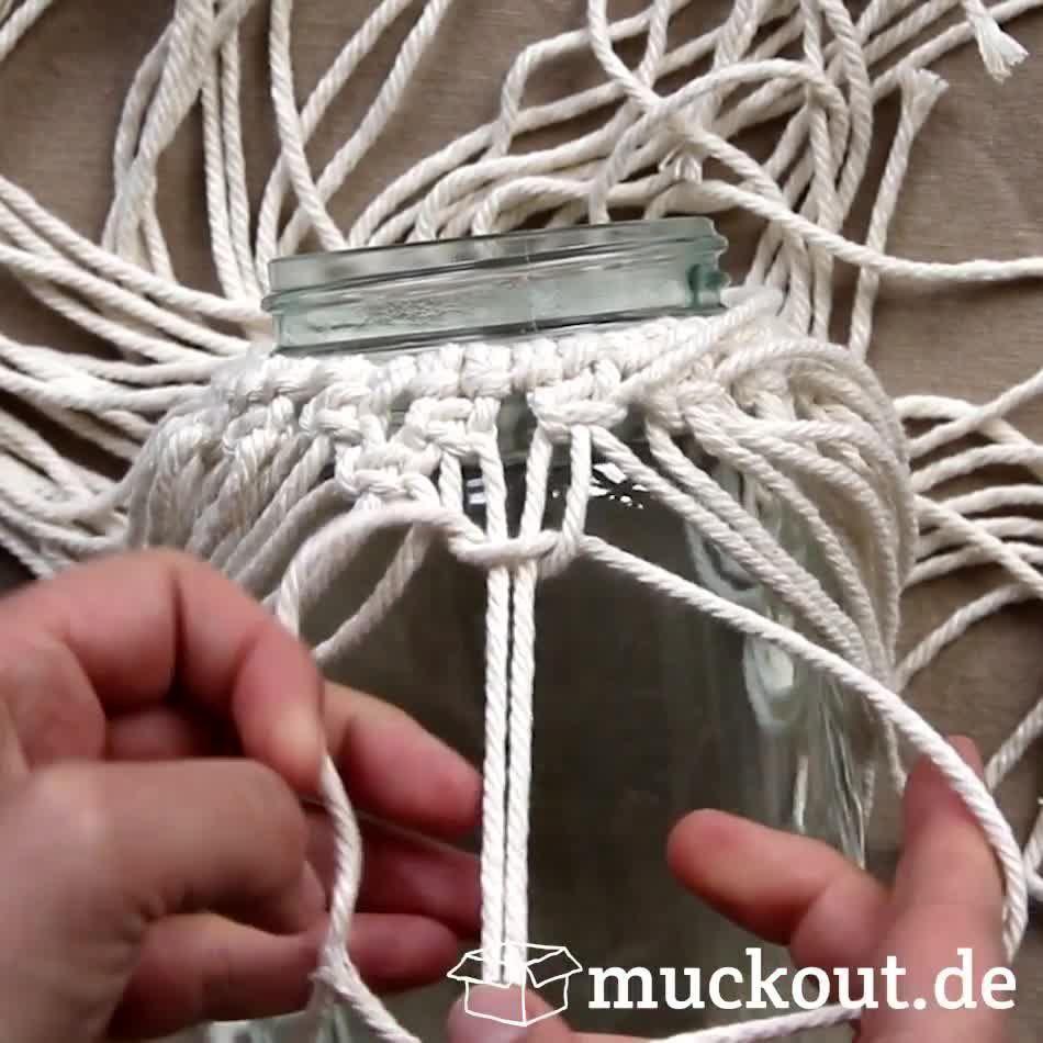 Makramee Windlicht/Vase selbermachen