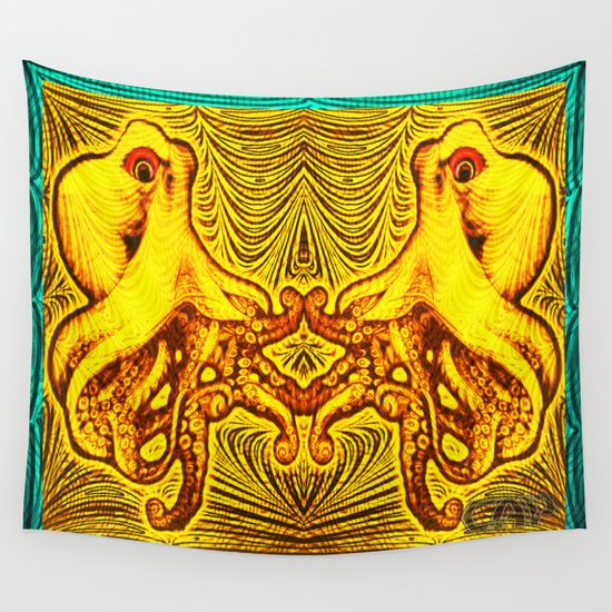 OctoSpeculum #2 - Psychedelic Octopus Fractal Optical Illusion Vibrant Design Wall Tapestry