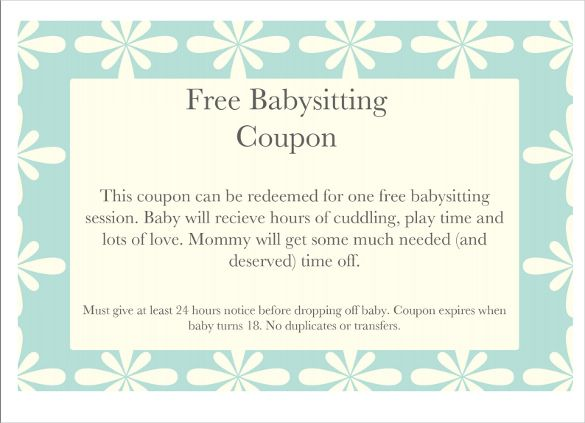 Baby Sitting Coupon Template Free Printable Pdf Documents Gift