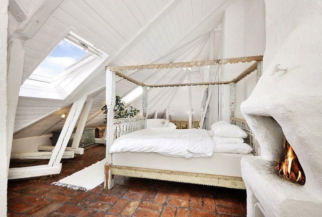 Shabby Schlafzimmer ~ Schlafzimmer dachboden gestaltung shabby chic himmelbett