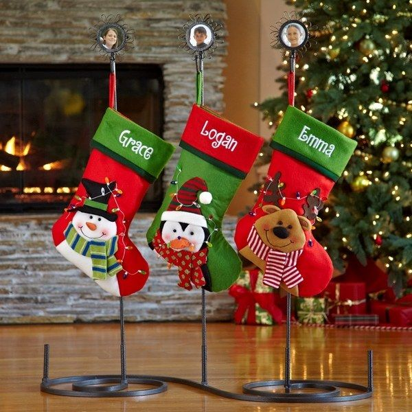 Statuette Of Charming Christmas Stocking Holder Stands