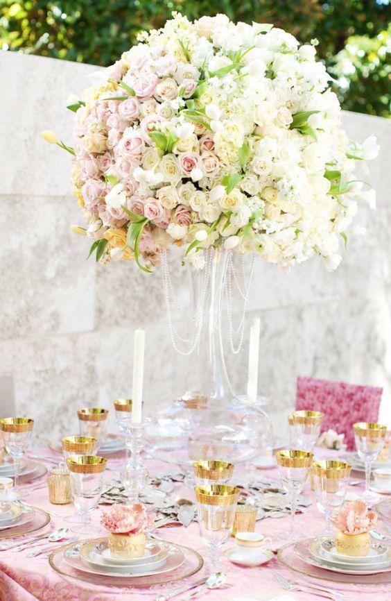 Wedding reception centerpiece idea; Featured Photographer: Perez Photography