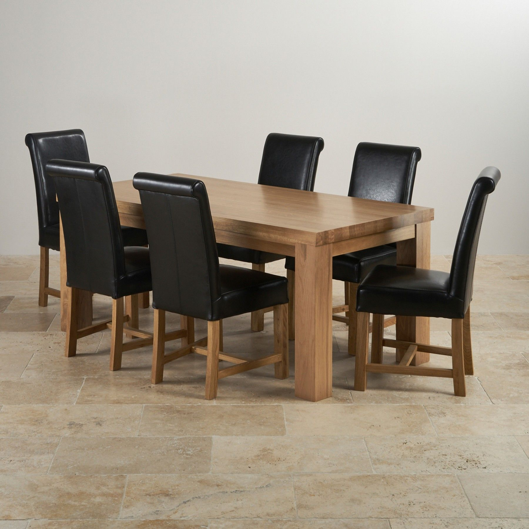 Contemporary Chunky Natural Solid Oak Dining Set 6ft Table With 6 Braced Scroll Back Black Leather Chairs Oak Dining Sets Oak Dining Room Dining Chairs