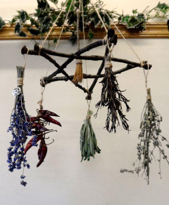 Handmade Wedding Altar: Pagan Wiccan Yule Gift Oak Twig Pentagram Herb Hanger