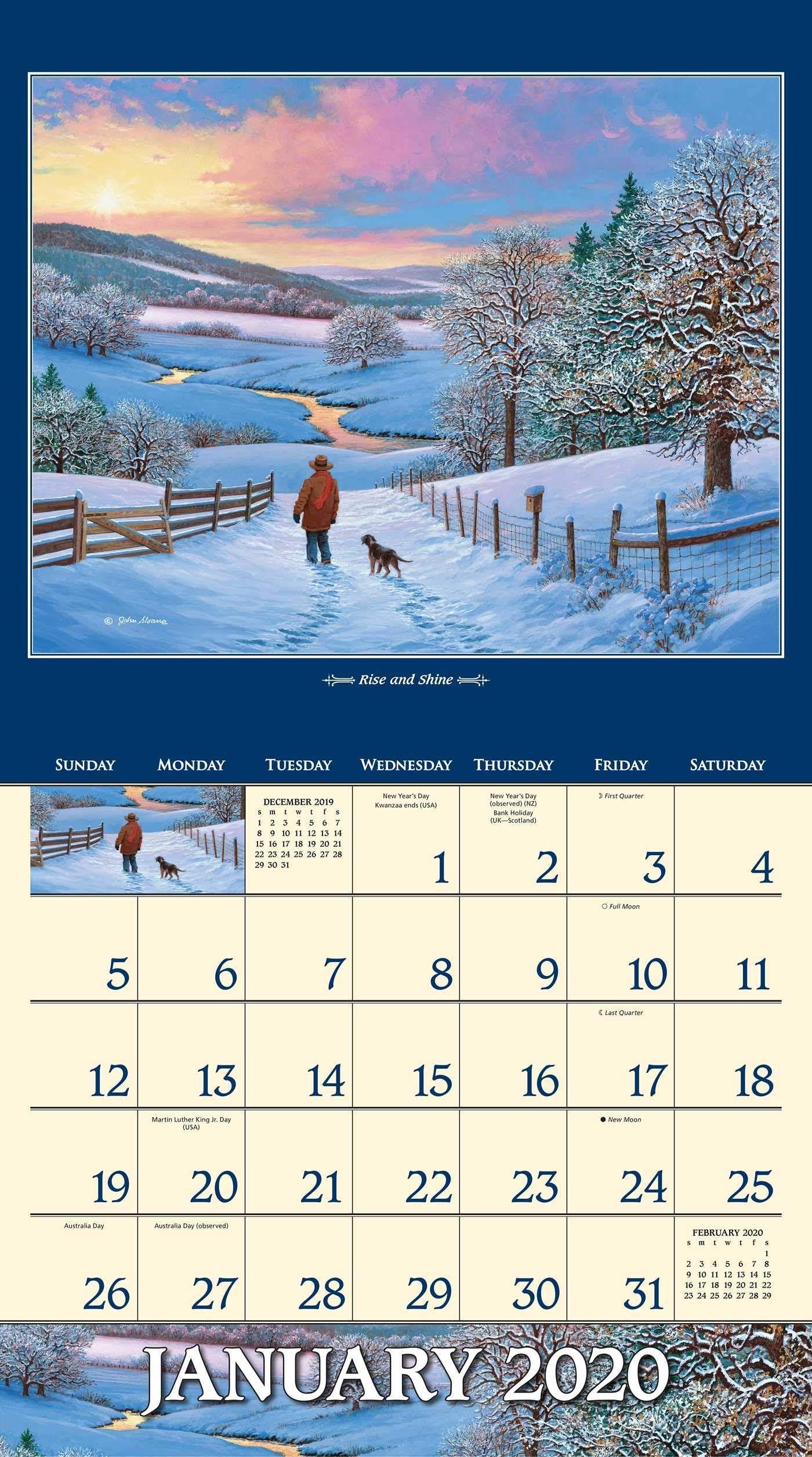 February 2020 Fashion Calendar John Sloane's Country Seasons 2020 Deluxe Wall Calendar Calendar