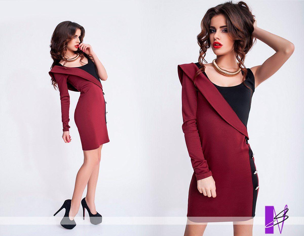 Платье с одним плечом бордо