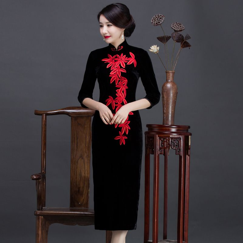 2018 new velvet cheongsam dress vintage plus solid elastic chinese  traditional dress velvet dress qipao e4b13d38e17a