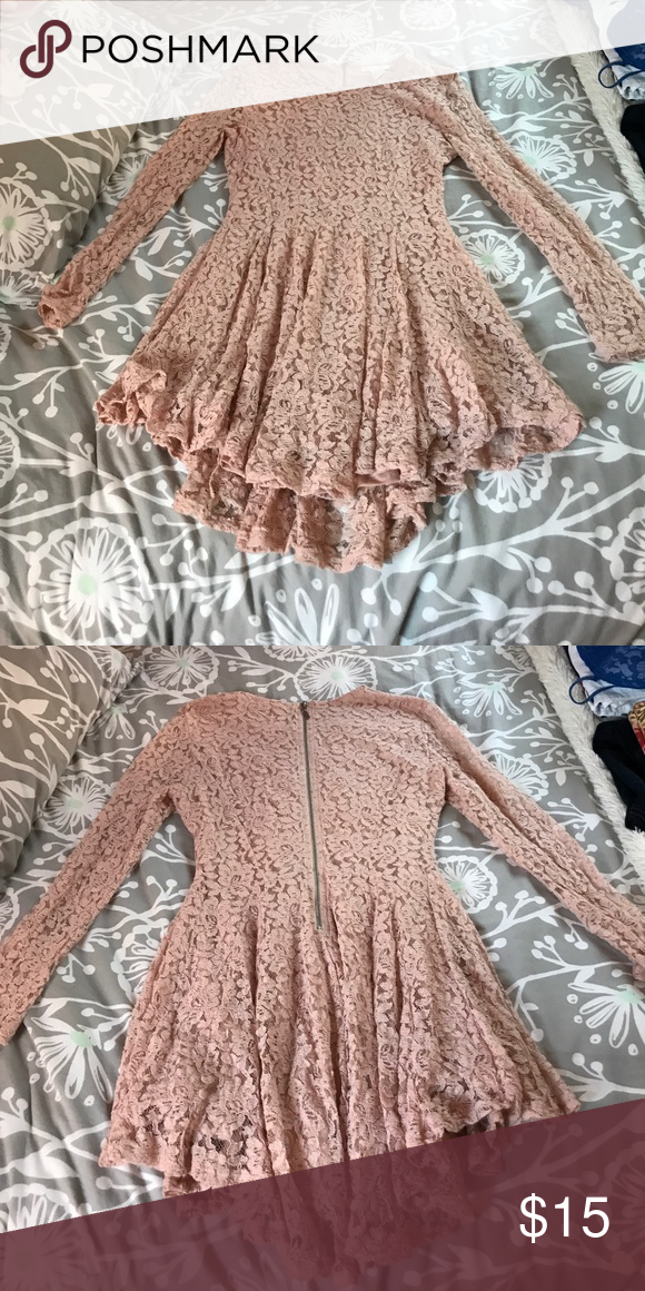 Dusty rose lace dress This dress is super cute and great if you love to show off your legs. The back is longer than the front and the sides are even shorter. Only worn once. H&M Dresses Mini