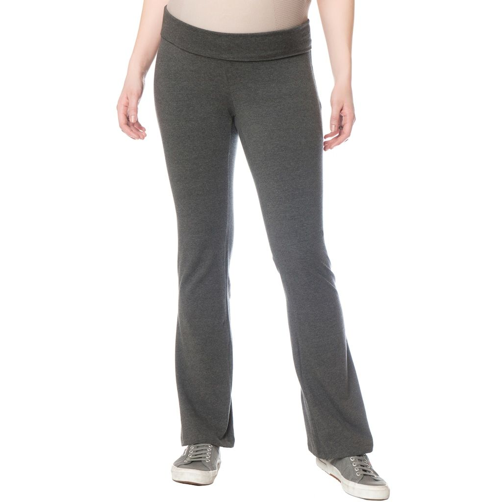 "becb6053a786f Petite Oh Baby by Motherhoodâ""¢ Fold-Over Belly Yoga Pants, Grey (Charcoal)"