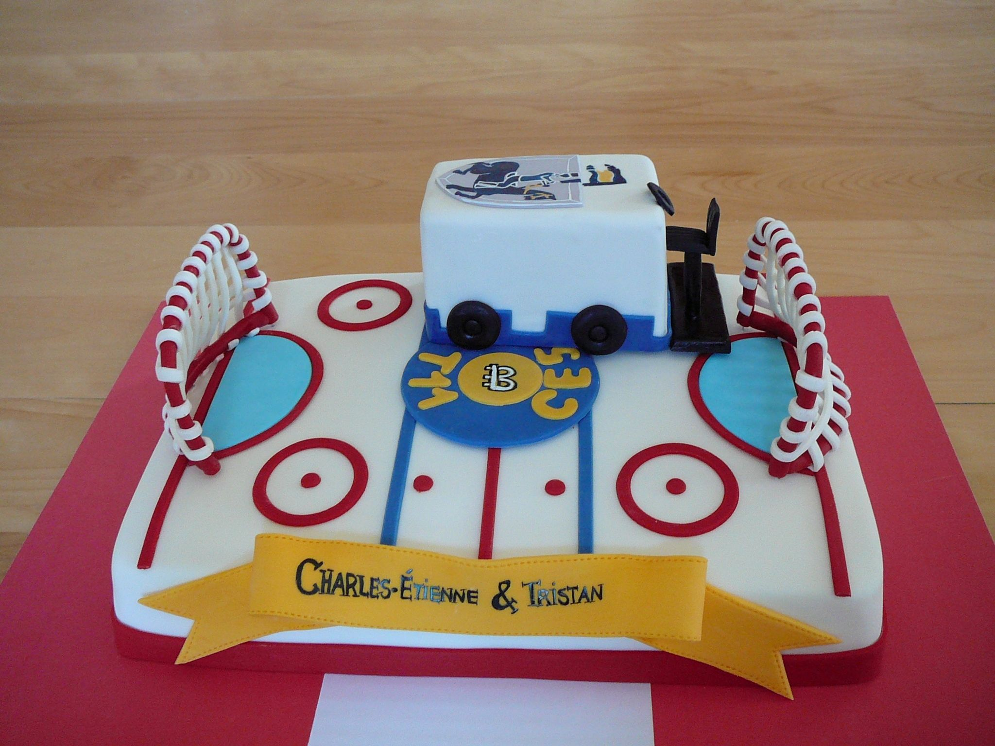 Hockey Rink and Zamboni A hockey rink cake for brothers birthday
