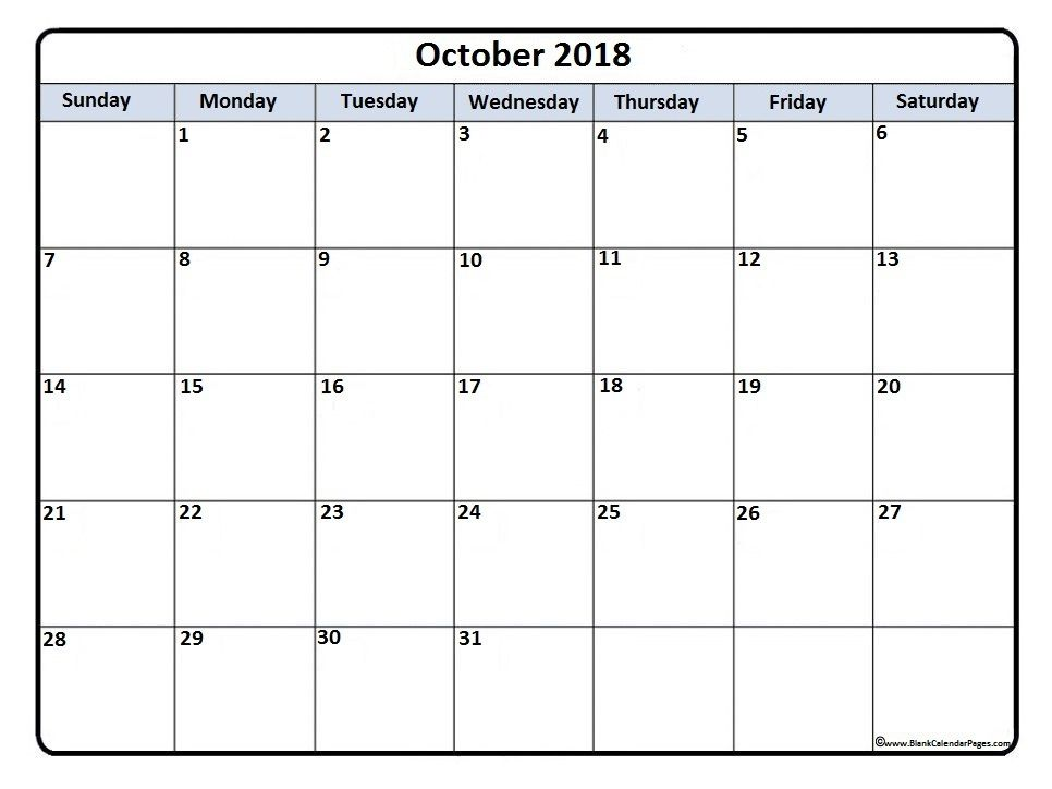 October2018 #calendar #printable October 2018 printable calendar - payroll calendar template