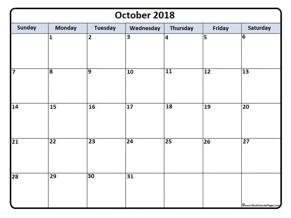 october2018 calendar printable october 2018 printable calendar