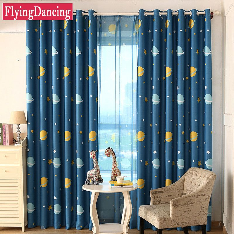 Kids Bedroom Curtains Entrancing Blue Planet Star Cartoon Kids Bedroom Curtains For Baby Room Design Ideas