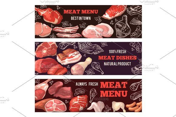Banners With Pictures Of Meat Brochure Design Template For Butcher