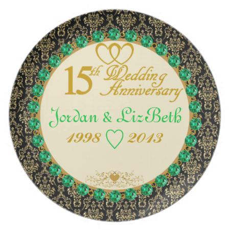 PERSONALIZED Emerald 15th Anniversary Plate 50th