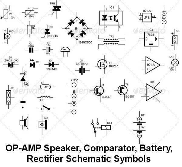 circuit symbol circuit schematic symbols of electronic buy schematic symbols for electronic components by urbazon on graphicriver set of vector schematic symbols for various most used electronic elements