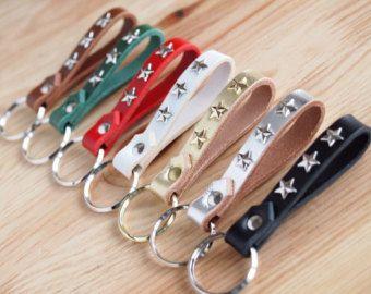 Braided Leather KeychainBrass W ring & rivet by SunGoddessCollars