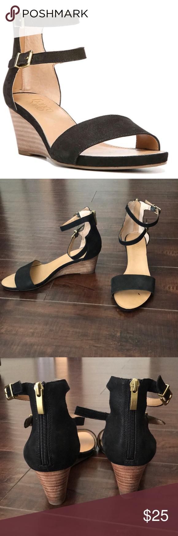 Franco Sarto black wedge sandal size 8M