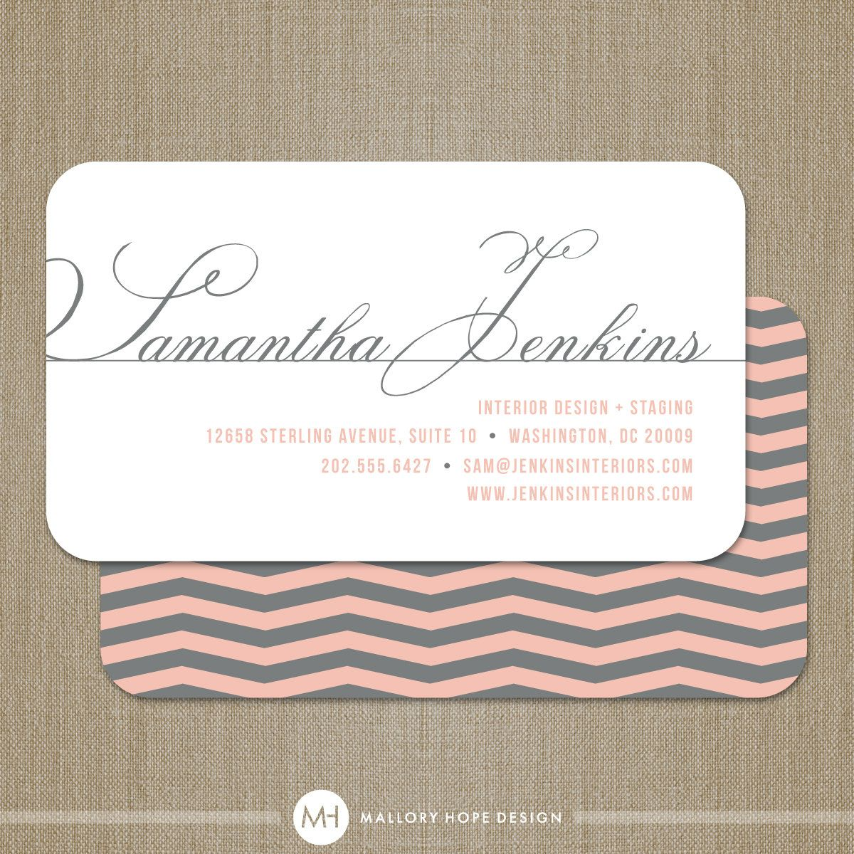 Chevron Business Card / Calling Card / Mommy Card / Contact Card ...