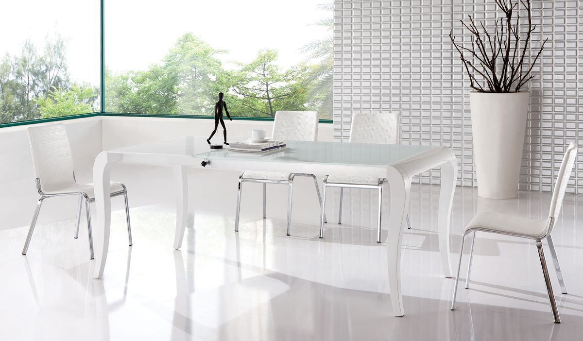 Extendable Table And Four Chairs Contemporary Style Luxury