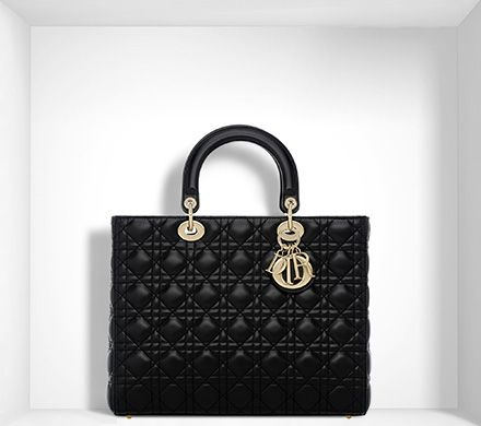 Large Lady Dior Bag In Black Lambskin
