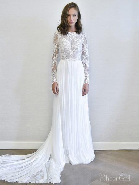 Ivory Long Sleeve Wedding Dresses Detachable Bridal Dress Awd1574