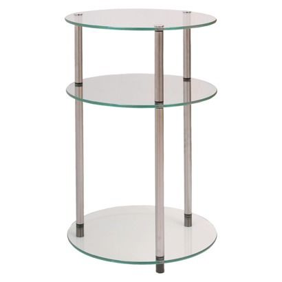 3 Tier Glass Round Table Johar Furniture Glass Side Tables Convenience Concepts Glass Shelves