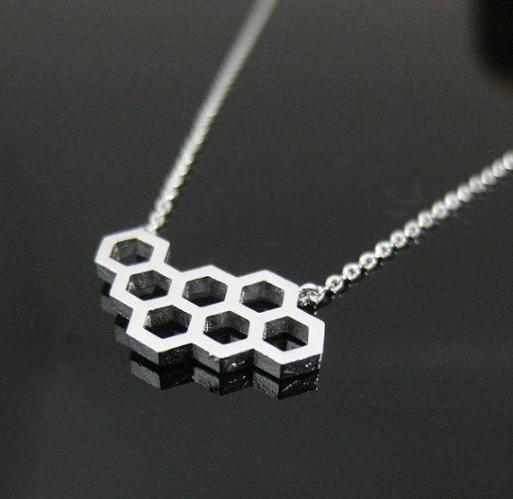 Honingraat ketting In zilver geometrische van BLACKKOLLABO op Etsy