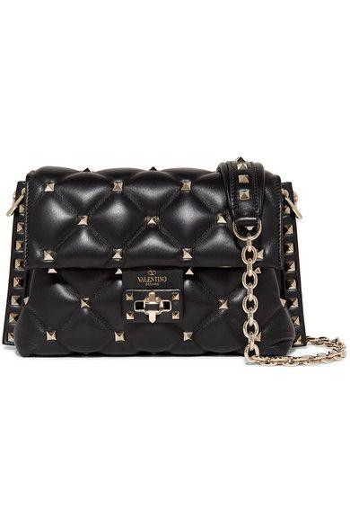 d589951db8e Valentino - Valentino Garavani Candystud Medium Quilted Leather Shoulder Bag  - Black