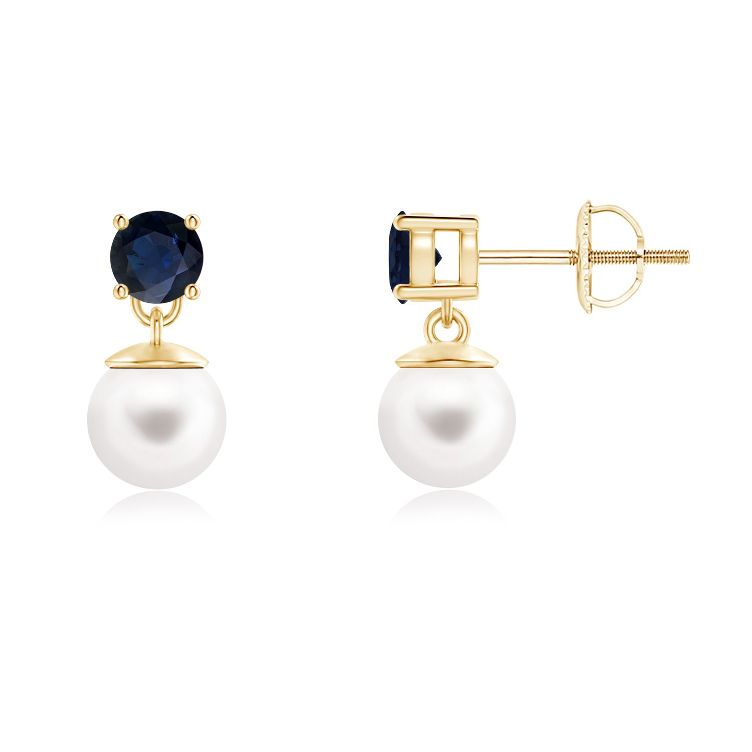 Angara Freshwater Cultured Pearl and Sapphire Dangle Earrings os6lNx