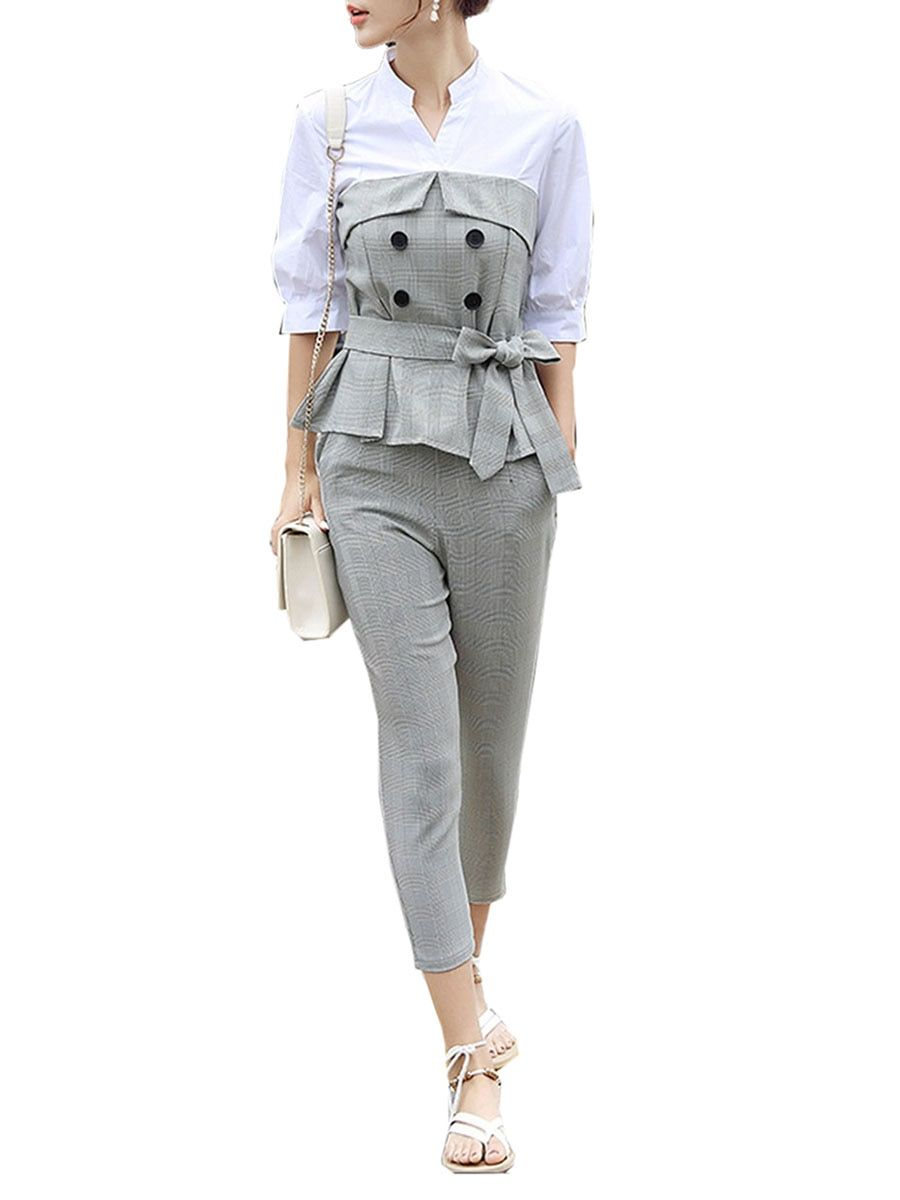 572d2fb4465d7e Buy Women s 2Pcs Pants Set V Neck Top Stylish Suit Pants Set   Women s Two  Pieces Suits - at Jolly Chic