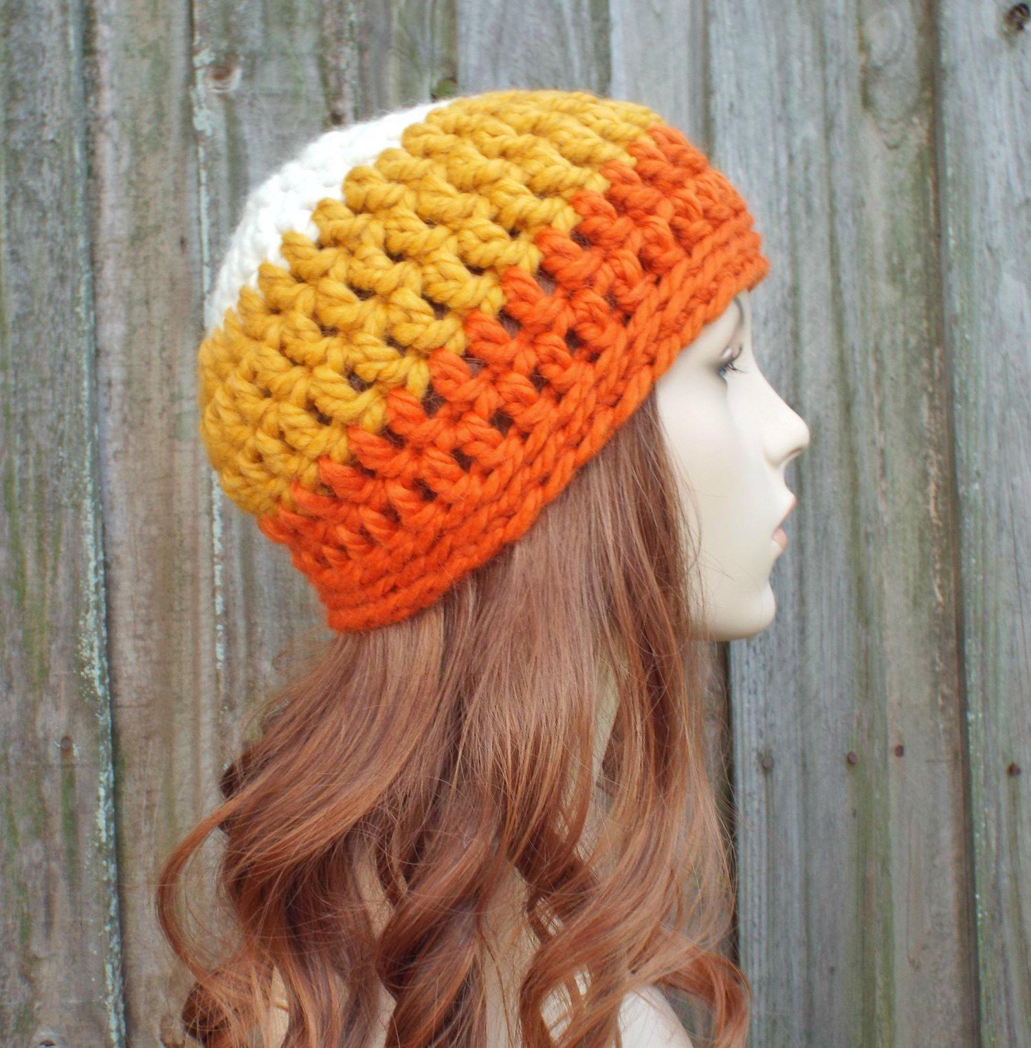 572c6081b2073 Candy Corn Beanie - Pumpkin Orange Mustard Yellow and Cream Beanie - Crochet  Womens Hat Mens Hat - Warm Winter Hat - READY TO SHIP