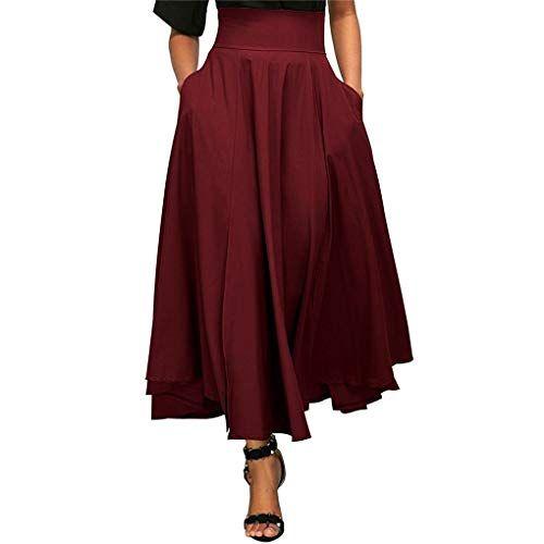 efeadb36ffd7e Babysbreath17 Femmes Taille Haute fendus Ceinture plissée Jupe Longue  Solide Maxi Jupe Poche vin Rouge L