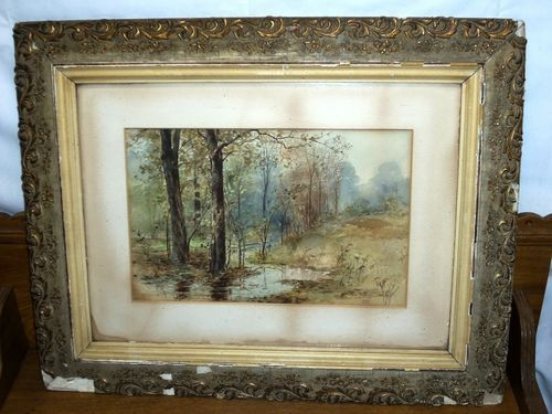 Antique Framed Watercolor Painting Trees By Stream 1899 Antique