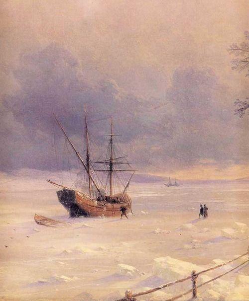 Frozen Bosphorus under Snow - Ivan Aivazovsky 1874