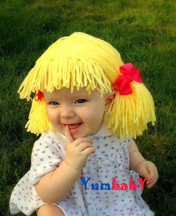 4d20dbf118e Cabbage Patch inspired wig for baby girl! Fun Halloween Costume idea! •  Handmade with 100% acrylic yarn • Removable bows • Pigtails hairstyle with  bangs ...