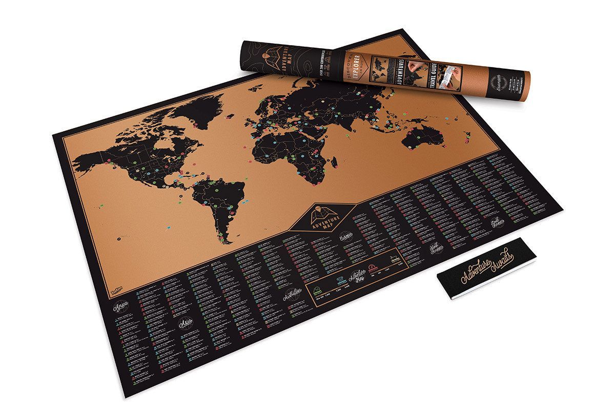 Personalized Scratch Map (world Edition) Poster With Tube Packaging
