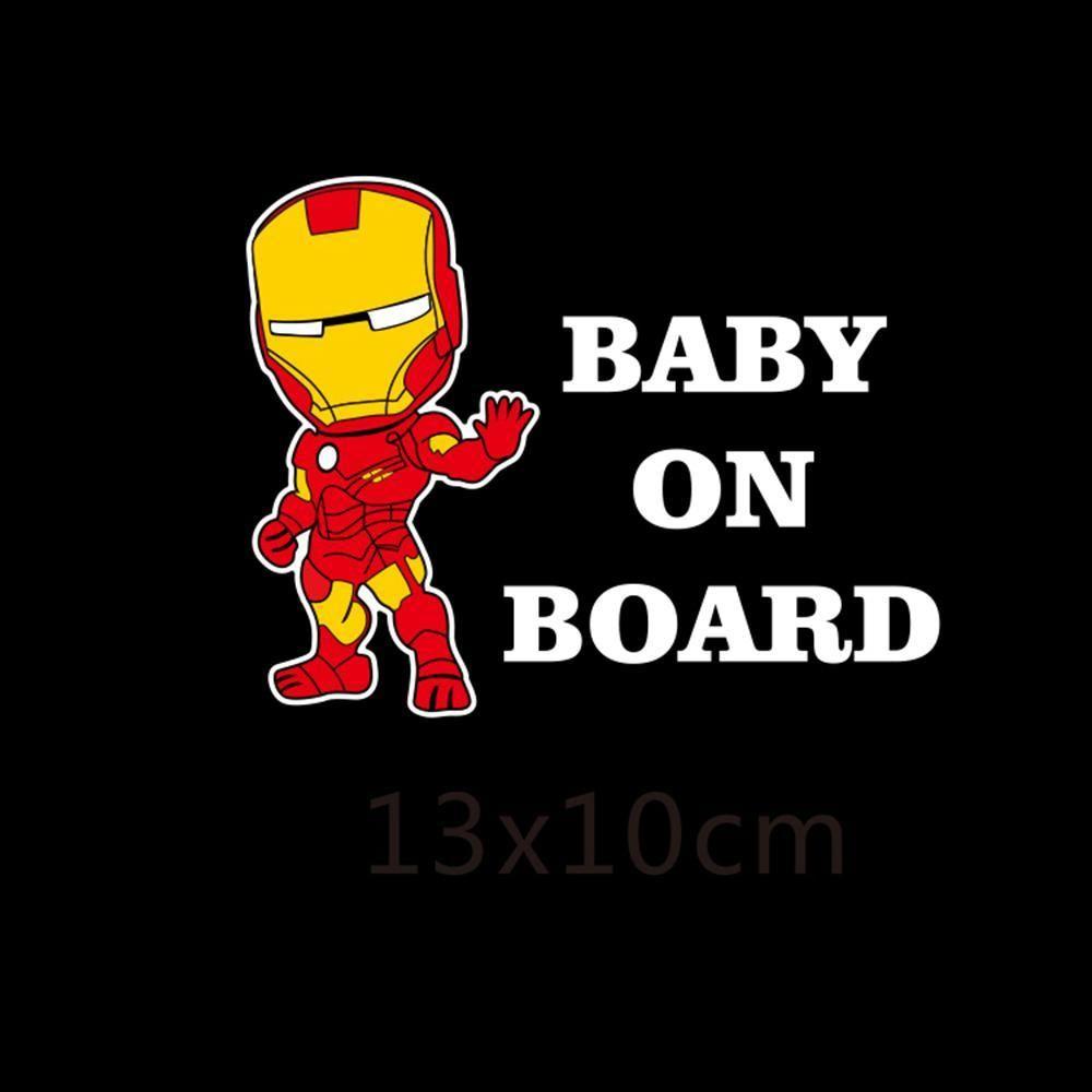 Iron Man Baby On Board Reflective Car Sticker Car Stickers Iron Man Reflective [ 1000 x 1000 Pixel ]