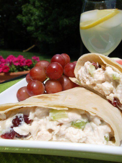 Door County Cherry Chicken Salad in wrap with fresh fruit on the side