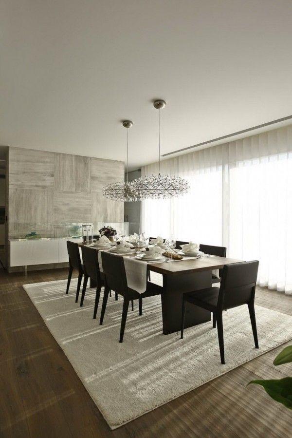 design interior mit holz und marmor für modernen essbereich mit - gardinen fürs wohnzimmer