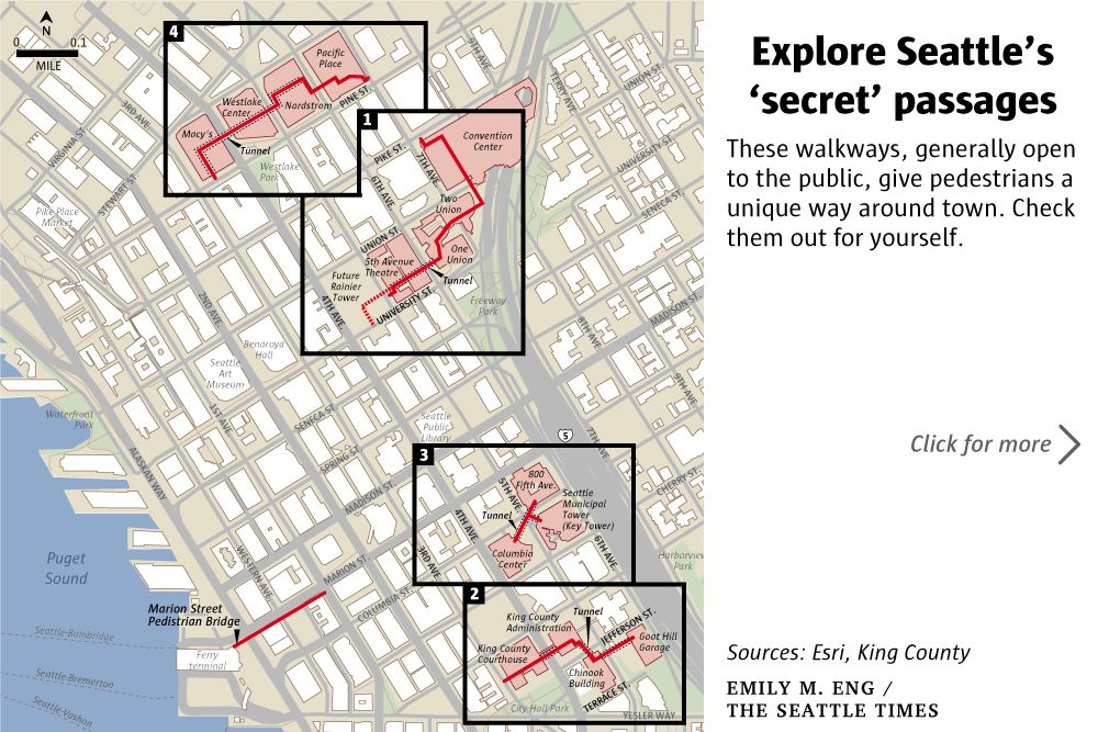 Save Time Stay Dry On Foot In Seattle S Hidden Passageways And Tunnels The Seattle Times Secret Passages Hidden Passageways Seattle