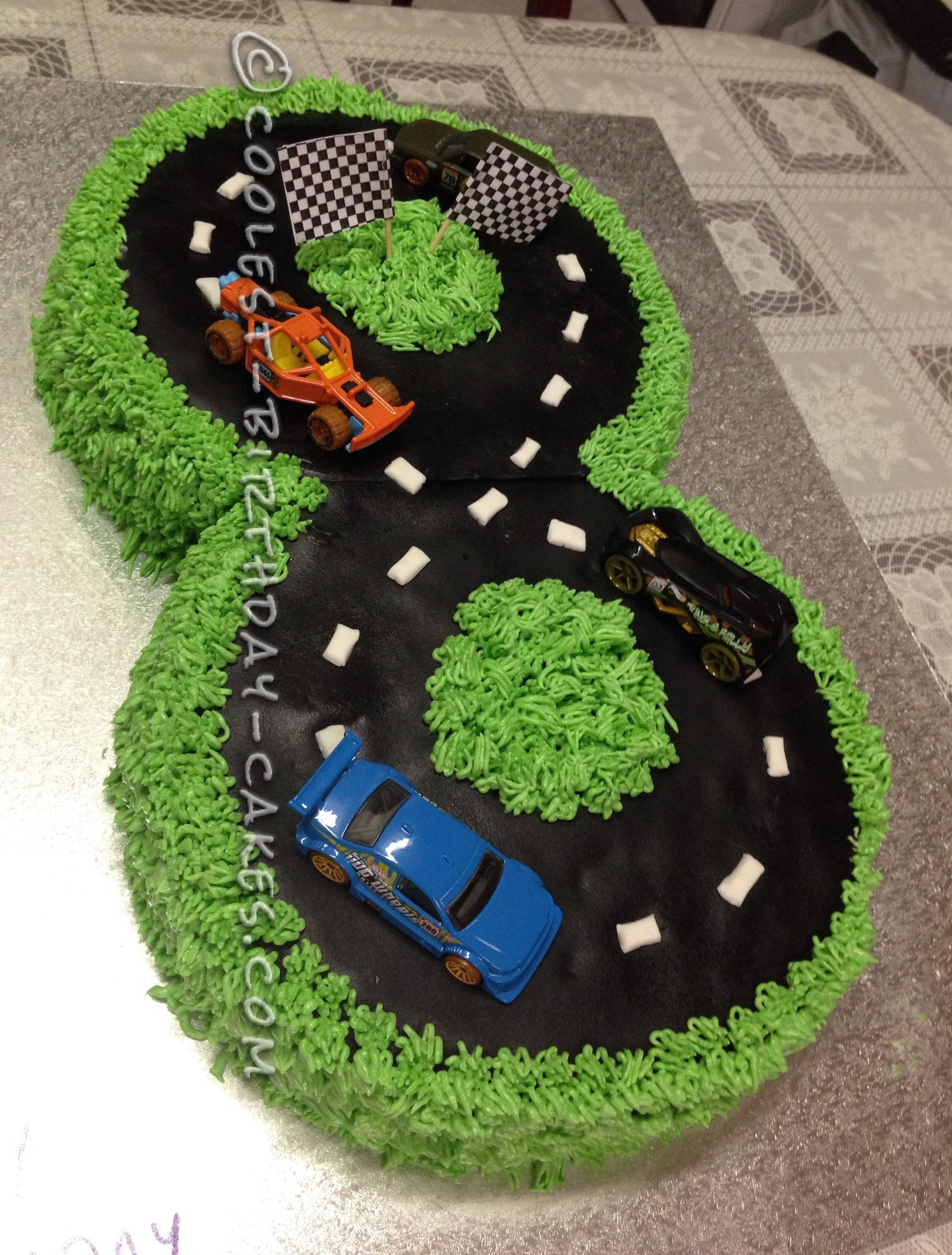 Number 8 Race Track Cake With Images Race Track Cake Race Car