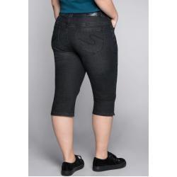 Große Größen: Schmale Stretch-Jeans-Capri, black Denim, Gr.48 Sheego #denimcutoffshorts