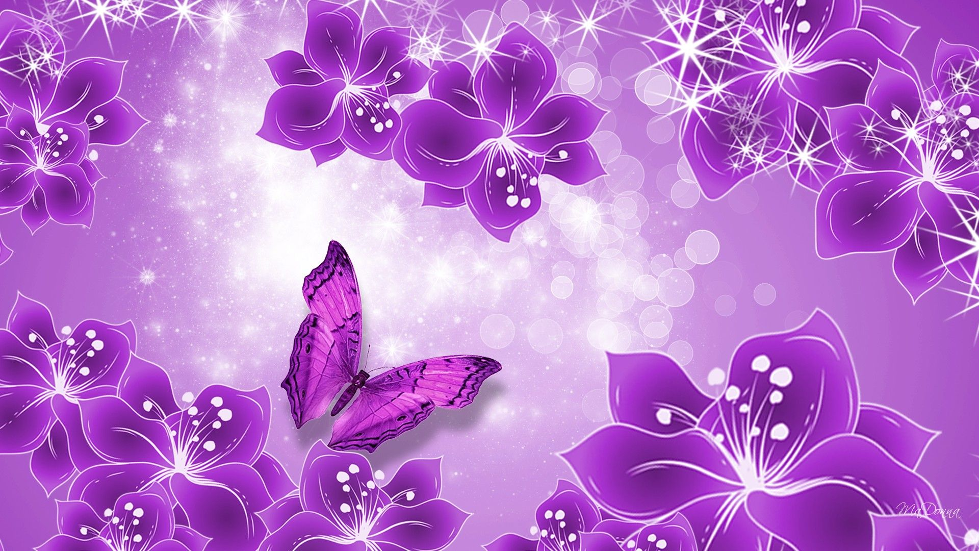 Purple Flower Background Hd Wallpaper Purple Butterfly Wallpaper