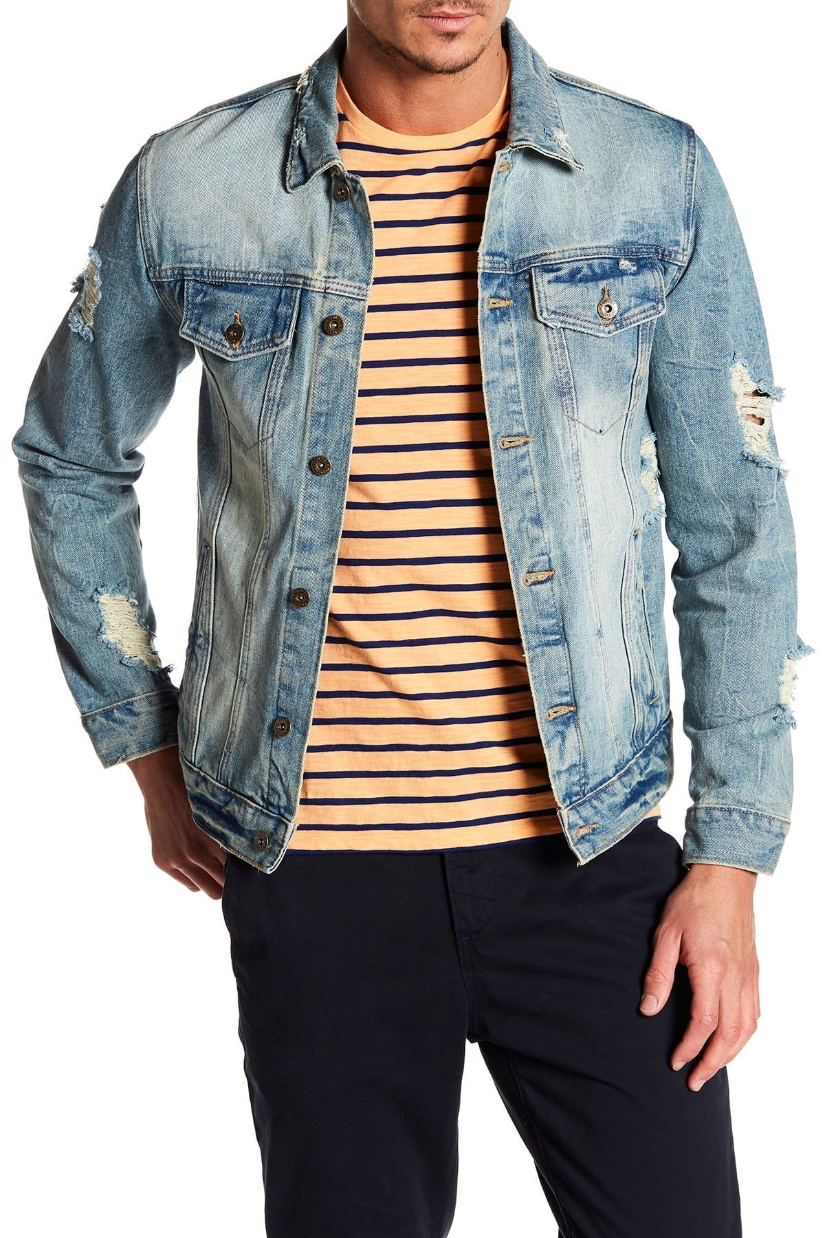 Request Distressed Denim Jacket Nordstrom Rack Jean Jacket Outfits Men Distressed Denim Jacket Denim Jacket [ 1800 x 1200 Pixel ]