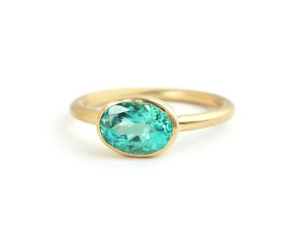 Hariqua-パワーストーンジュエリー-Green apatite rim ring /グリーンアパタイト グリーンアパタイト リム リング