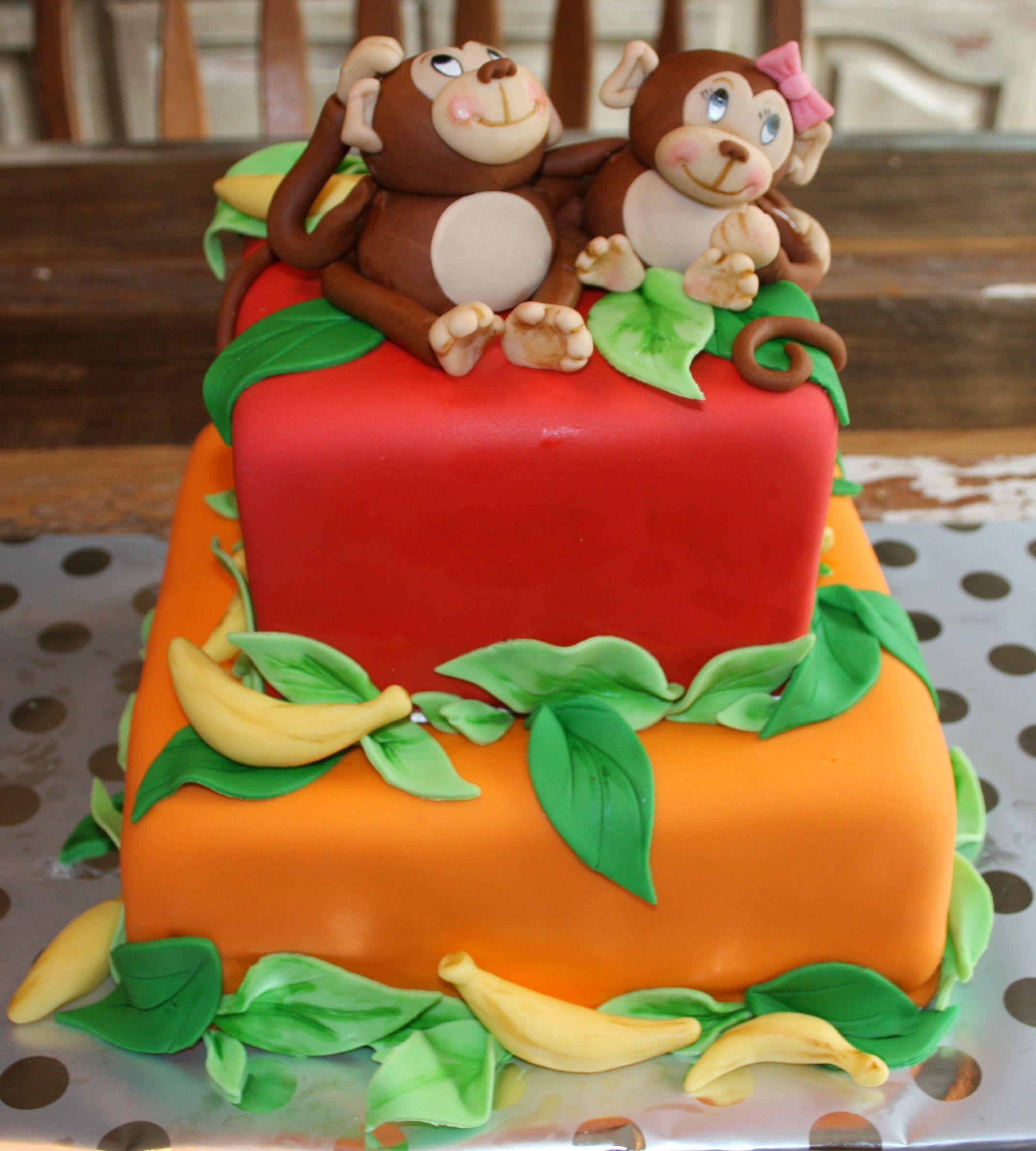 Monkey Fondant Cake Kids Twins Birthday Cake