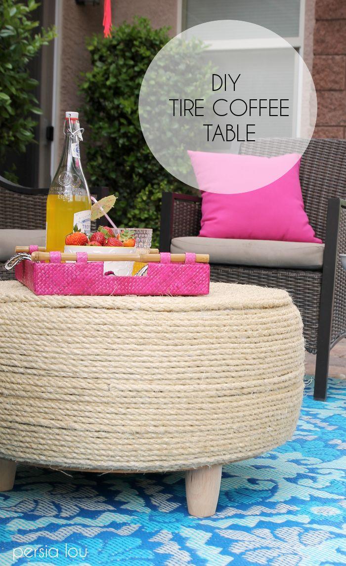 DIY Recycled Tire Coffee Table | Neumaticos, Otomanas y Mueble artesanal