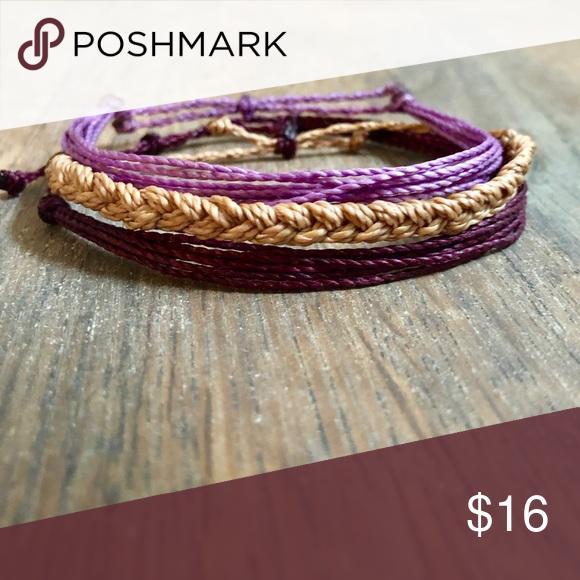 Bracelet Style Pack Set Of 3 Waterproof Bracelets Made From Wax String Inspired By Pura Vida Styles Rustic Serenity Jewelry