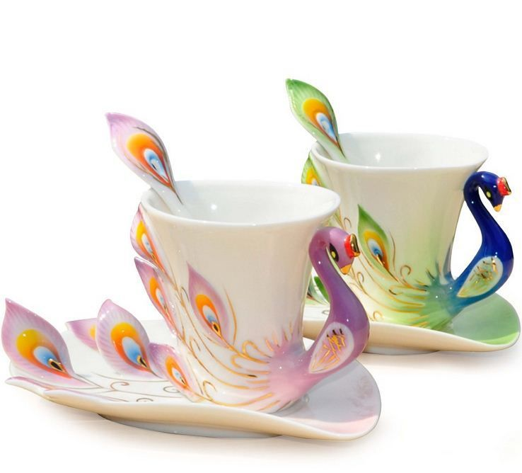 Porcelain Enamel Peacock Coffee Cup Mug Cup For Cup Birthday Gift Ideas Us 29 90 With Images Peacock Coffee Ceramic Coffee Cups Tea Cups